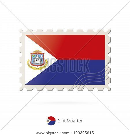 Postage Stamp With The Image Of Sint Maarten Flag.