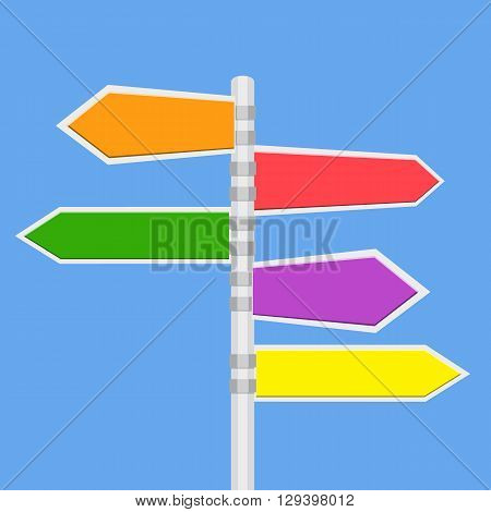Direction road signs - arrows on blue sky. vector illustration in flat design