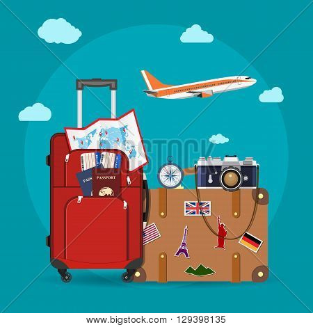 Airplane flying above tourists luggage, map, passport, tickets and photo camera. Tourism and vacation theme. vector illustration in flat design. travel and vacations concept