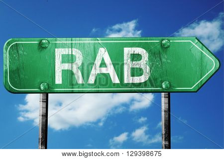 Rab, 3D rendering, a vintage green direction sign