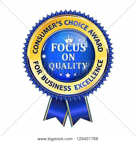 Consumer's choice award for business excellence - ribbon for companies, retail industry.