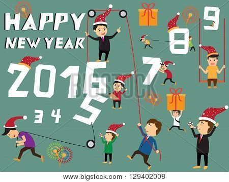 Happy new year concept businessman try to pull number 2016 symbolizing an effort for progress in 2016 Businessman celebrating the new year. vector illustration.