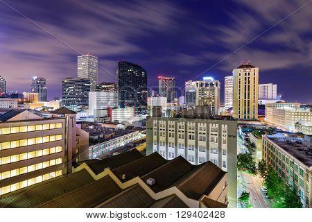 New Orleans, Louisiana, USA CBD skyline at night.