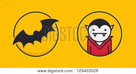 Two colored outline circle icons with bat silhouette and vampire isolated on yellow background