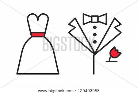 Wedding dress and groom's suit outline icons