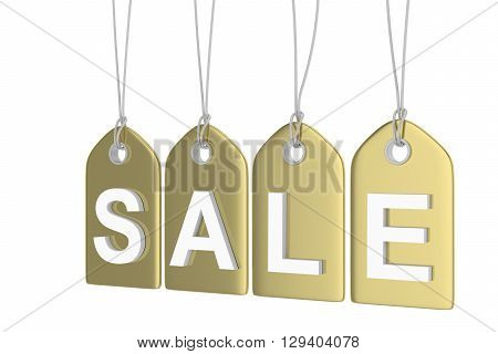 Golden isolated sale labels on white background. Price tags. Special offer and promotion. Store discount. Shopping time. 3D rendering.