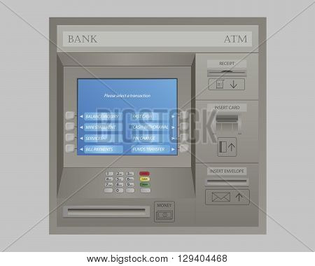 Illustration of Automated Teller Machine of Bank