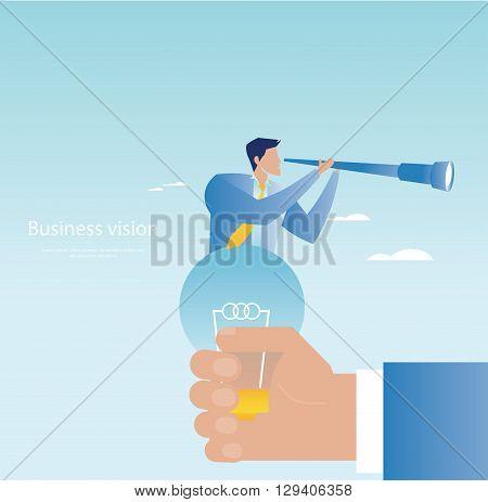 Creative business concept. Businessman holding a spyglass