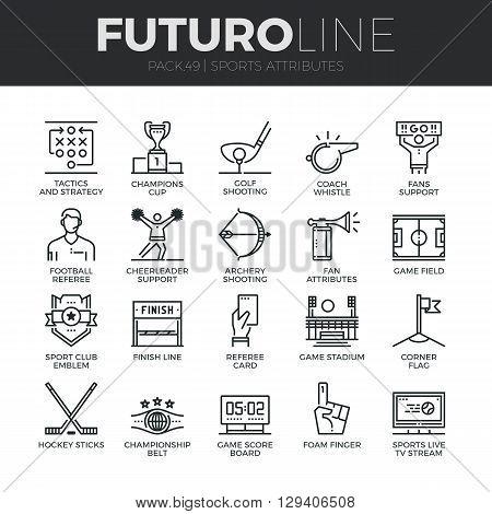 Sports Attributes Futuro Line Icons Set