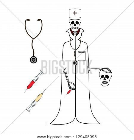Skeleton doctor in medical gown and cap. Funny skeleton doctor with skull in his hand. Cartoon skeleton doctor with syringe, medicine, stethoscope. Vector skeleton doctor on a white background.