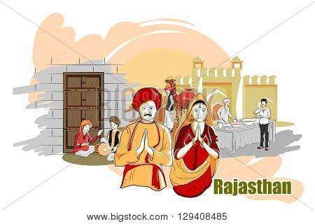 easy to edit vector illustration of people and culture of Rajasthan, India