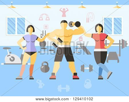 Bodybuilder narciss girls poster women and man in gym carry out training or workout vector illustration
