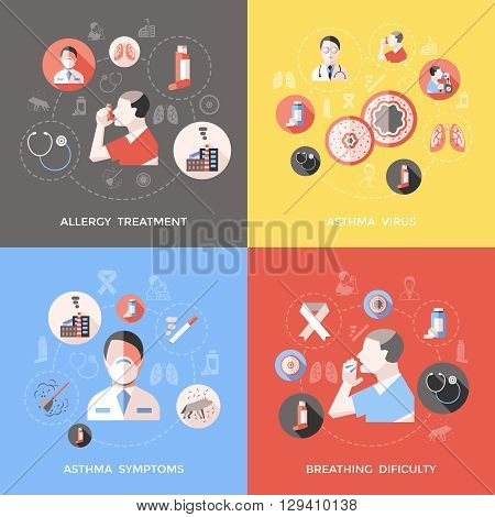 Bronchial asthma concept with doctor and patient symptoms of illness breathing difficulty allergy treatment isolated vector illustration