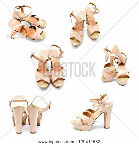 Collection of photos beige high heel women shoe isolated on white a background