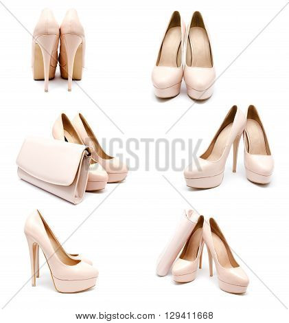 Collection of photos biege high heel woman shoes and clutch isolated on a white