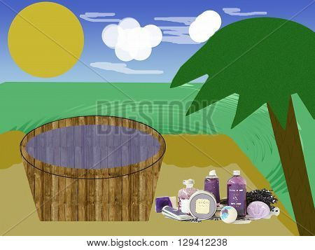 Bathtub at the beach with different bathing salts, sky, sun, clouds and a palm.