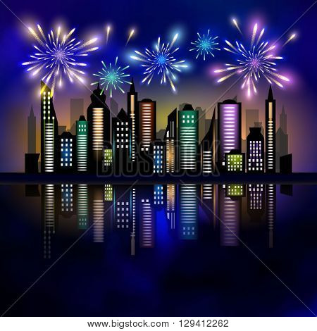 Fireworks over the city. Skycrapers and fireworks. City skyline. City vector illustration