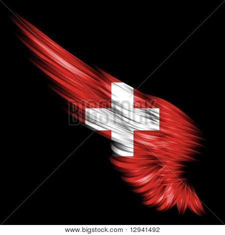 Abstract Wing With Switzerland Flag On Black Background