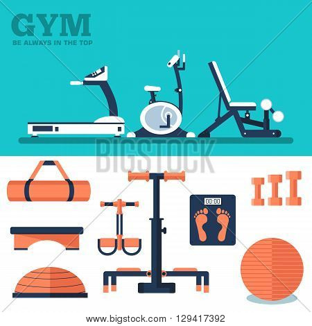 Fitness Sport Gym Exercise Equipment Workout Flat Set Concept.  Vector Illustration For Colorful Tem