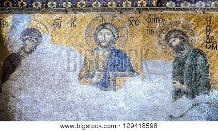 Istanbul, Turkey - February 9, 2013: Mosaic of Jesus Christ, Hagia Sophia in Istanbul, Turkey