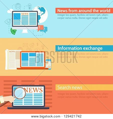 Flat Set Banners News Spread In The World Background Concept
