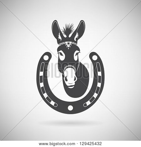 donkey with a horseshoe on a light background