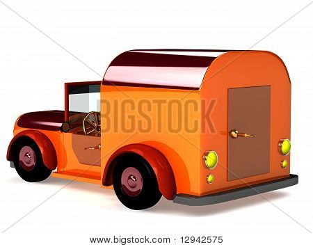 3D Orange Toy Car Isolated