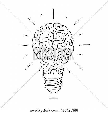 The lamp in the form of the brain. Vector illustration on white background. Charge brain. Turn on the brain.