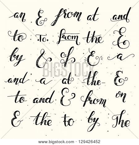Hand lettered ampersand and catchword set