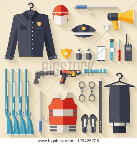 Security Uniform And Set Protection Staff Equipment. On Icons Flat Style Background Concept. Vector