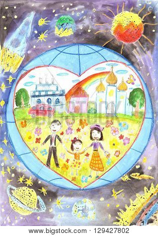 Happy family against the backdrop of the earth. Love heart peace. The child and the parents. Father Mother Daughter.Drawing Watercolor.