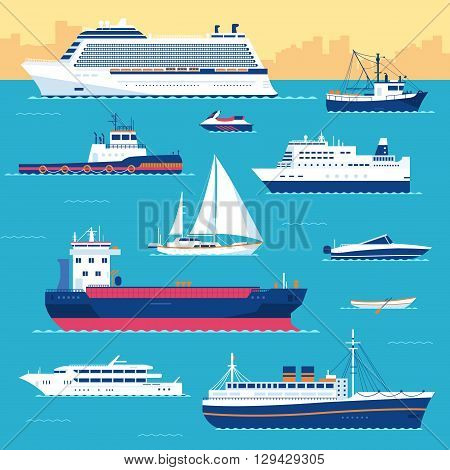 Set Of Flat Yacht, Scooter, Boat, Cargo Ship, Steamship, Ferry, Fishing Boat, Tug, Bulk Carrier, Ves