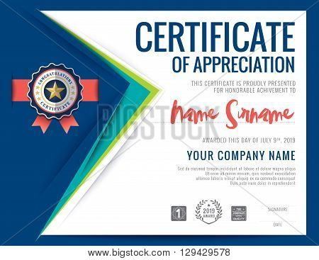 Modern certificate blue triangle shape background frame design template