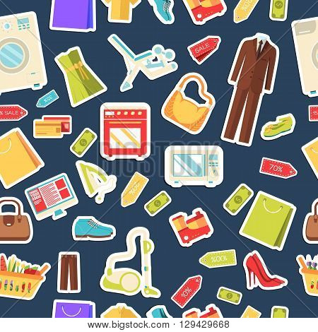 Many Object Purchased In The Shop. Shopping Abstract Seamless Pattern Concept. In Flat  Sticker Styl