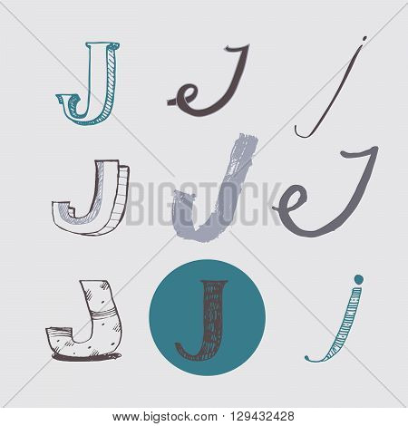 Original letters J set isolated on light gray background. Alphabet symbols editable hand drawn creative in different variations Italic 3d freehand drawn with brush and nib vector Illustration