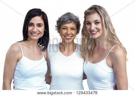 Portrait of women standing together with arm around on white background