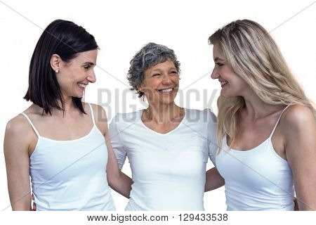Women standing together with arm around on white background