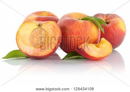 Peach Peaches Slice Half Fruit Fruits Isolated On White
