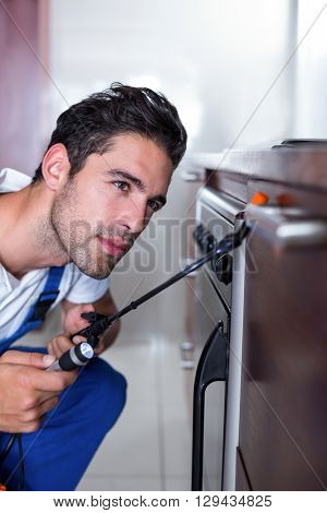 Cropped man spraying insecticide on oven in kitchen