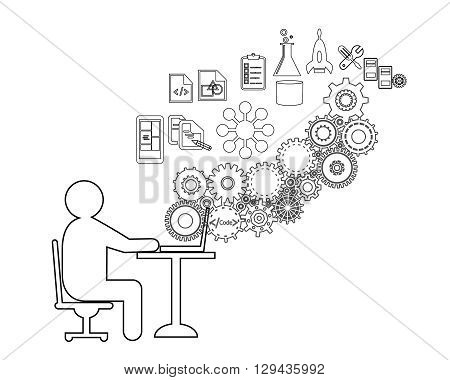 Software Developer or freelancer is Coding This also represents a business analyst gathering requirements tester testing code engineer providing application support vector illustration icon set