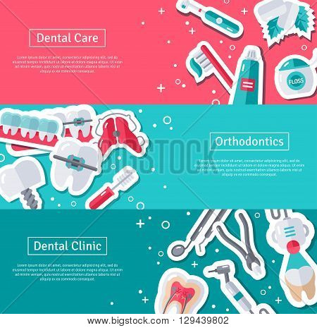 Set of Horizontal Banners about Dentistry with Flat Sticker Icons. Vector illustration. Dental Care, Orthodontics and Clinic.