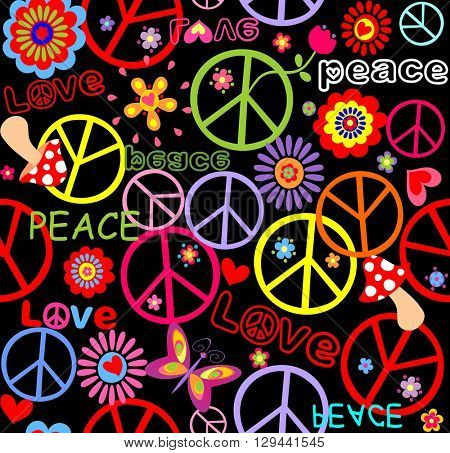 Hippie wallpaper with peace symbol, mushrooms and abstract flowers
