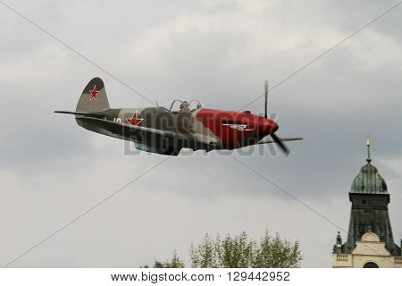 OSTRAVA, CZECH REPUBLIC - APRIL 30, 2015: Combat Plane YAK-3, Yakovlev, 70-th Anniversary of the Liberation of Ostrava on April 30, 2015 in Ostrava, Czech Republic / Russian Fighter Plane World War II combat fighter
