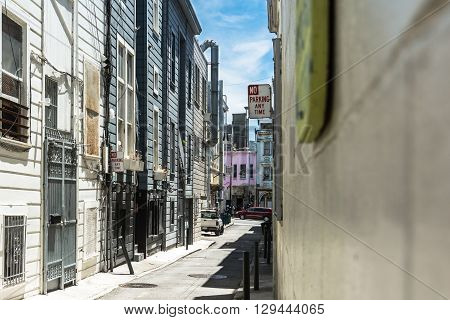 San Francisco,California,USA - June 30, 2015 : View of Bannem Pl alley in Little Italy in San Francisco