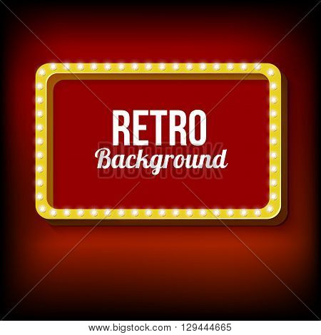 Realistic frame with lights. 3d rectangular yellow frame with glowing lights. Red empty space for your text. Red light lamps falls on a black background. illustration.