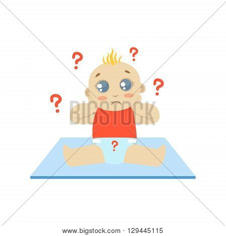 Baby In Red With Dirty Nappy Flat Simple Cute Style Cartoon Design Vector Illustration Isolated On White Background