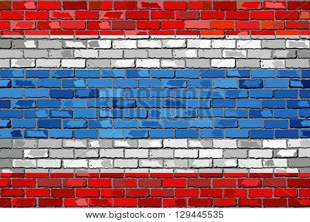 Flag of Thailand on a brick wall - Illustration,  Kingdom of Thailand flag on brick textured background,  Thong Trairong - Tricolour Flag  painted on brick wall,  Flag of Thailand in brick style