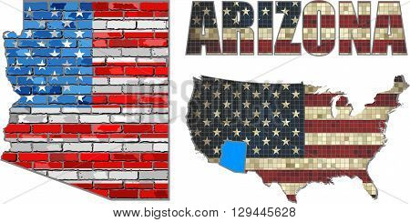 USA state of Arizona on a brick wall - Illustration,