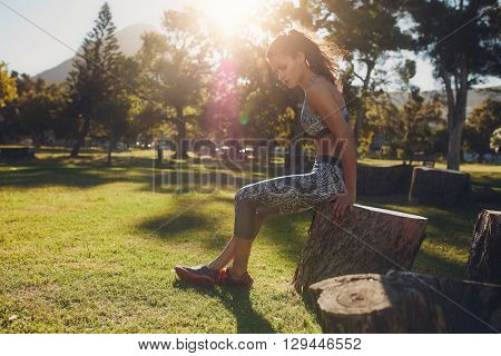 Sportswoman Working Out In Park On A Sunny Day