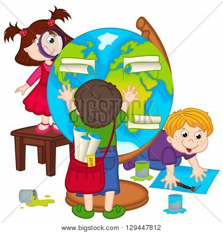 children make globe - vector illustration, eps